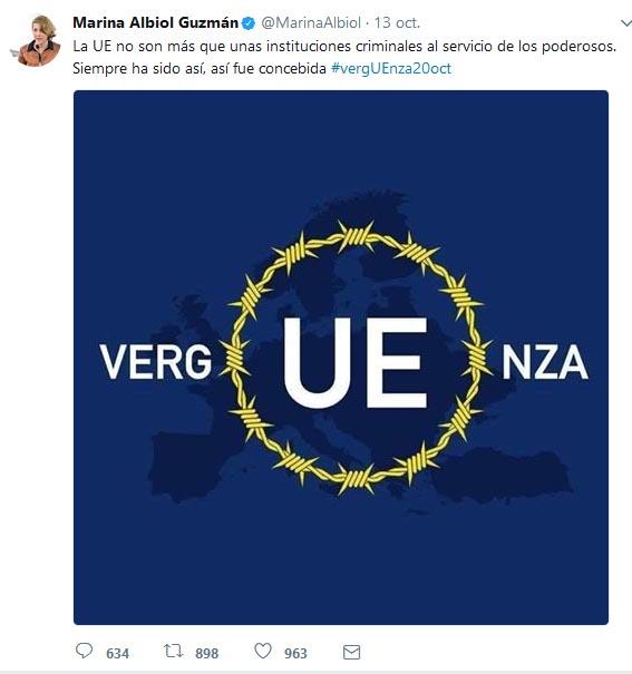"""Marina Albiol (IU): """"la UE son instituciones criminales"""""""