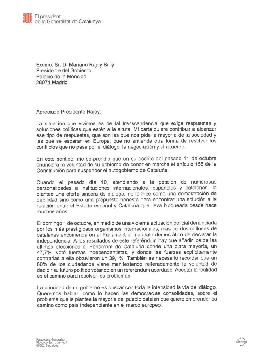 Puigdemont se niega a responder a Rajoy