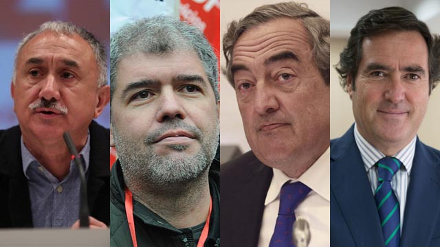 Pedro Sánchez recibe a los sindicatos y a la patronal en Moncloa