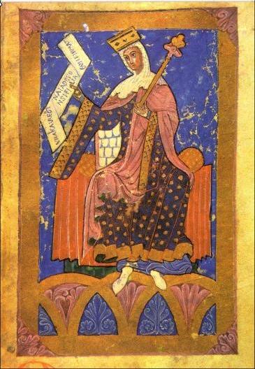 Miniatura medieval de la reina Urraca de León. Anónimo.