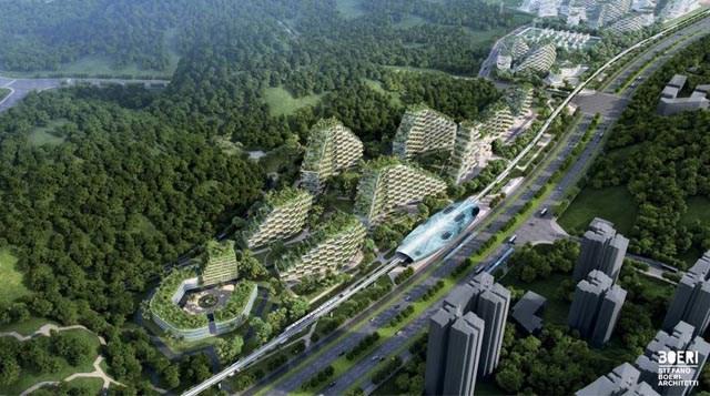 Maqueta de la ciudad forestal de Liuzhou. Foto de Estudio Boeri.