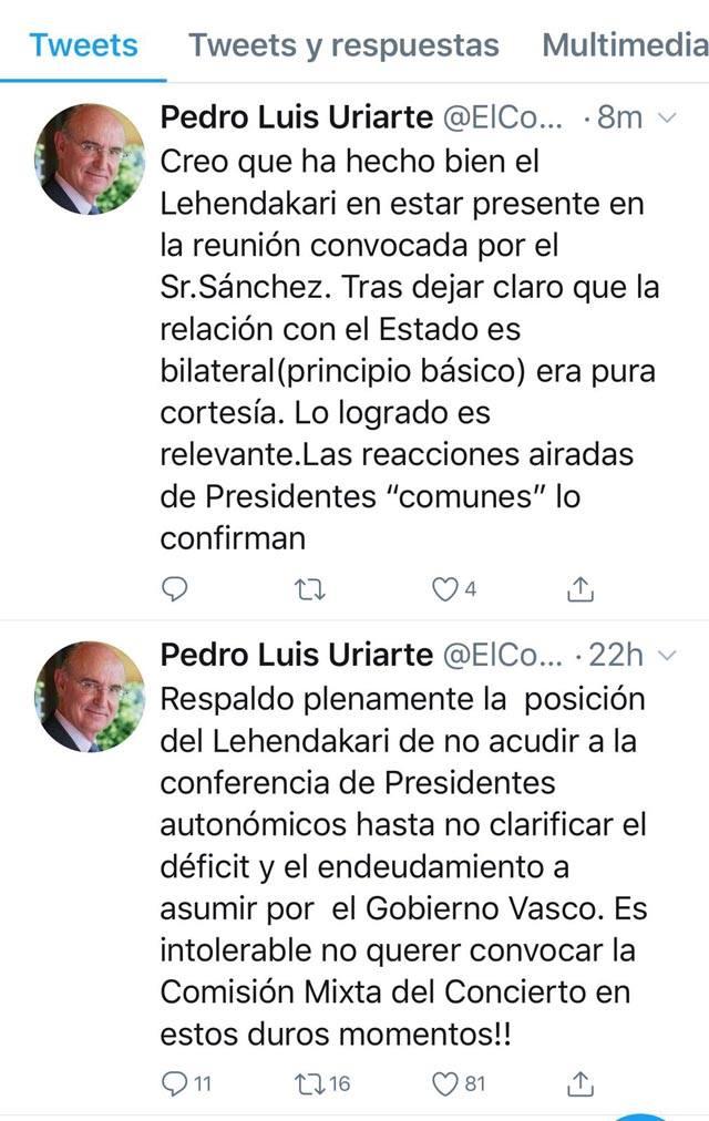 Tweet de Pedro Luis Uriarte.