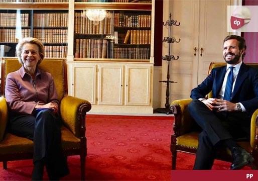 Casado trata de convencer a Bruselas de la debilidad de la democracia española